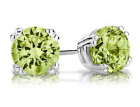 1.0 Carat (ctw) 6mm Peridot Stud Earrings in Sterling Silver