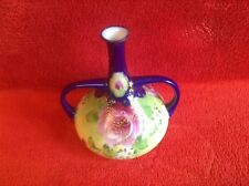 Antique Hand Painted Onion Shape Two Handled Bud Vase.