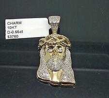 Men's 10K Yellow Gold Jesus Head Charm With A Tear Drop 0.55CT Diamond, Angel