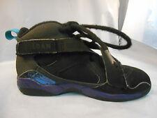 Air Jordan 8.0 Black Basketball Shoes w/ Purple and Blue Kids Sz 2 Y 467809-009