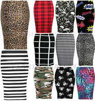 WOMENS LADIES PRINTED STRETCHY PENCIL BODYCON WIGGLE MIDI SKIRT PLUS SIZE 8-22