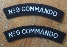 2 x No 9 Commando Shoulder Titles - Pair - Repro WWII Patches BRITISH Army WHITE