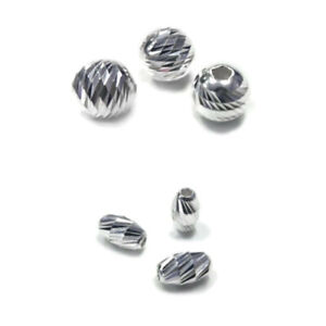 925 Sterling Silver BAR CUT BEADS round/ oval - 2mm, 3mm, 4mm, 6mm, 8mm