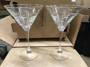 Rolf Glass School of Fish Etched Textured Martini/Margarita Glasses Set Of 2
