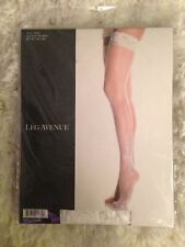 276fd08a71d NEW Leg Avenue Sheer Lace Top Stocking Woven Bows Floral Pattern O S White  NWT