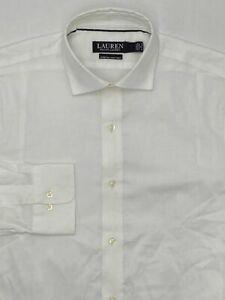 NEW $105 Ralph Lauren 17 36/37 Men Cotton-Stretch White Long-Sleeve Dress Shirt