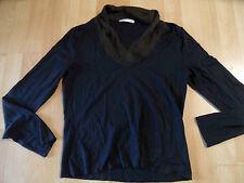 JOSEPH JANARD schönes Langarmshirt Seidenkragen schwarz braun Gr. 38 NEUw  ZC216