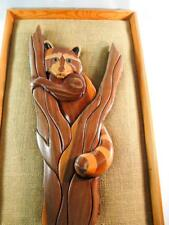 Intarsia Wood Raccoon Mounted in Burlap & Wood Frame Free Shipping