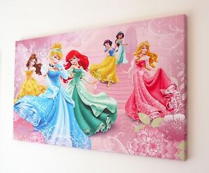 DISNEY PRINCESS PINK CANVAS WALL ART PICTURE 18 X 32 INCH