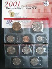 More details for usa 2001 d denver mint 10 unc coin set: 1 cent ~ 1 dollar ~ 2 sealed packs ~ coa
