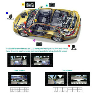 360° Car four Cameras Image combiner Switch for View Parking Video Split Control