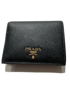 Authentic PRADA BIFOLD SAFIANO BLACK WALLET  with Coin Pocket - PRISTINE