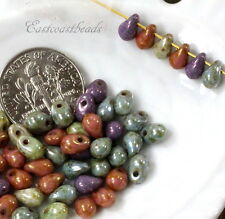 Tear Drop Beads, 4x6mm, Green, Purple And Pink, Czech Glass Beads, 50 Beads