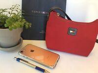 "Purse Clutch Mini Handbag TOMMY HILFIGER Fabric Red Logo 5x8"" Pocket Zip Close"