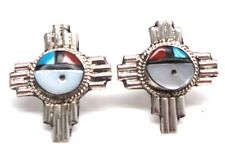 Handmade Zuni Zia Sun Face Post Earrings Sterling Silver