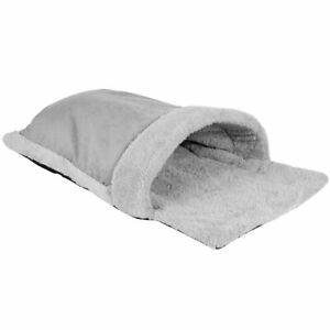 Cosy Cat Pouch Bed Fleece Kitten Sleeping Soft Cave House Pet Hideaway Grey