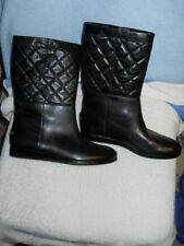 Michael Kors Lizzie Black Quilted top Leather Winter Boot 7 M NIB