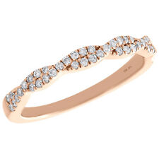 10K Rose Gold Round Diamond Twist & Braided Ladies Right Hand Ring 0.25 Ct.