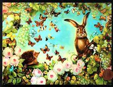 Pamela Silin-Palmer Rabbit Hedgehog Butterflies Roses - Birthday Greeting Card