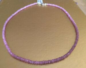 wunderschöne, facettierte rosa pink Saphir Kette 45cm