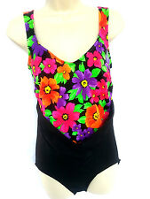 Carol Wior Womens Size Med Large 36 One Piece Black Multi Color Floral Swimsuit