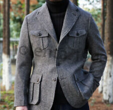 Wool Blend Men Suits Colored Dots Retro Tuxedos Hunting Jacket Winter Warm Wear