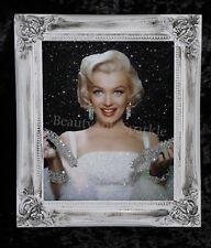 Marilyn Monroe Black Glitter Canvas Picture Shabby Chic frame , Wall Art.
