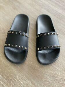 Valentino Rockstud Slides Black Womans Size 39