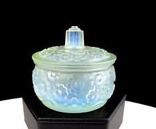 "SABINO FRANCE SIGNED OPALESCENT ART GLASS FLUERS PATTERN 2 1/2"" DRESSER JAR 1930"
