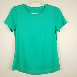 Athleta Women's Cadence Tee Shirt Top Green Mesh Trim XS