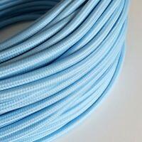 3x0,75 H03VV Textilkabel, Leitung Textilfaser umflochten, hellblau, rund