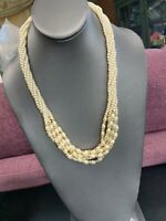 "1950S White Beaded Twisted Strand Imitation Pearl Gold Accent Necklace 22"" Long"