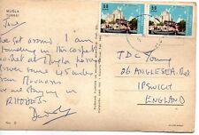 Two x 50 kurus Turkey Postage Stamps used on postcard (EPH)