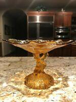 Vintage Amber Glass Pedestal Compote