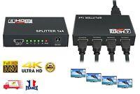 Splitter 1x4 HDMI HUB Répartiteur Full HD 4K 1 HDMI entrée 4 sortie, HDCP 1080P