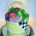 Certified International Cookie Jar Fruit Basket Vintage 11 1/2 Tall Large #A13