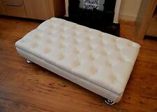 Chesterfield Style Deep Button  Footstool In White Faux Leather With Metal Legs
