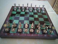 Set scacchi in metallo scacchiera plastica effetto marmo Reader's Digest anni 80