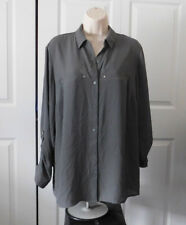 APT. 9 Women's Plus Gray Convertible Roll-tab Button Front Blouse Size 0X 14W