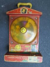 Vintage 1960's Fisher Price Music Box Teaching Clock ANTIQUE TOY WORKS