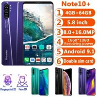 Note10+ 5.8'' Android 9.1 Smartphone Face Fingerprint Unlocked 4+64G Dual SIM