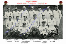 """ENGLAND 1948 (v Wales) 12"""" x 8"""" RUGBY TEAM PHOTO PLAYERS NAMED"""