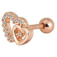 Tragus Stud Earrings Helix Piercing-Bar Rose Goldtone Barbell CZ Heart 16G