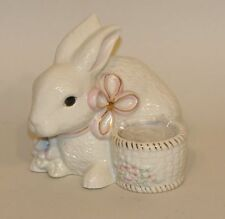 Lenox Porcelain & Gold Easter Bunny Rabbit Votive Candleholder Pink Bow Flowers