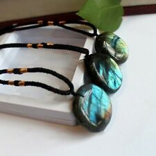 Delicate Natural Labradorite Pendant Crystal  Necklace Healing Stone Necklace