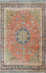Antique Overdyed Floral Kashmar Area Rug Evenly Low Pile Oriental Handmade 9x12