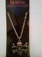 Skull Crossbones Gothic Pendant Necklace Pirate Biker Steampunk Fashion Jewelry