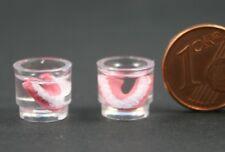 1 Gebiss im Glas Zahnersatz  Miniatur 1:12 Puppenstube Puppenhaus Diorama