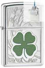 Zippo 24699 four leaf clover luck Lighter & Z-PLUS INSERT BUNDLE