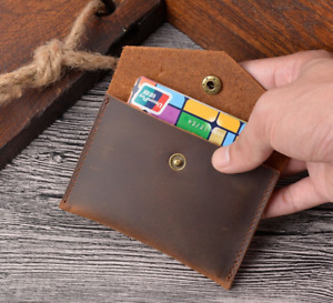 men women wallet purse cow Leather ID card coin holder case bag brown Z1057